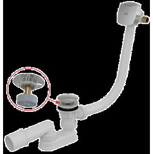 Alcaplast vaňový sifón click/clack s napúšťaním prepadom, 120 cm, chróm A509CKM120