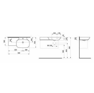 Nábytkové umývadlo Laufen Ino 90x45 cm bez otvoru pre batériu, bez prepadu H8133010001121
