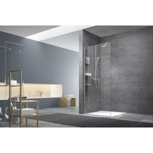 Sprchová zástena Walk-In 140 cm s profilom, zavetrením a doplnky Swiss Aqua Technologies Walk-in chróm lesklý SATBWI140PRDOPL