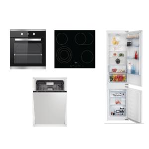 Set spotrebičov Beko, rúra BIM25301XCS + doska HIC64404T + umývačka DIN28422 + chladničky BCSA285K4SN
