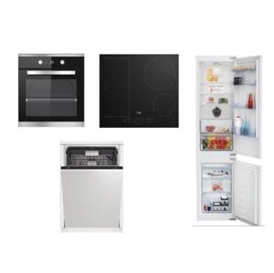 Set spotrebičov Beko, rúra BIM25301XCS + doska HII64200FMT + umývačka DIN28422 + chladničky BCSA285K4SN