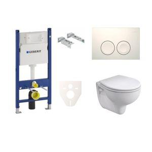 Závesný set WC KOLO Rekord, nádržka Geberit Duofix, tlačidlo biele SIKOGES7K1