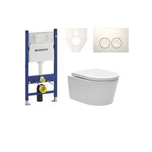 Závesný set WC SAT Brevis, nádržka Geberit Duofix, tlačidlo biele SIKOGES7W1